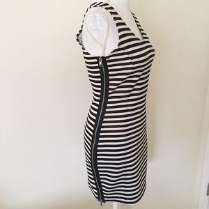 Aqua black white striped zipper dress